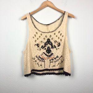 Free People cream knit tank top